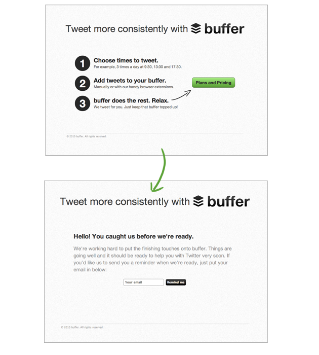 The first version of Buffer MVP.